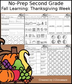 3 Dinosaurs - Fall Learning: Second Grade Thanksgiving Week Cursive Words, Cvce Words, Thanksgiving Words, Thanksgiving Activities For Kids, Sixth Grade, Second Grade, Short E Words, Making Words, Adding And Subtracting
