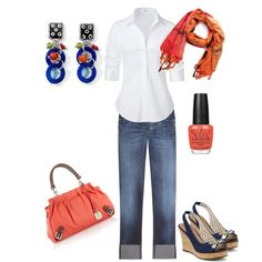 Blue and Coral, created by afmassengale.polyvore.com