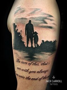 Black and white dad and daughter tattoo.