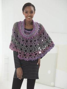 Poncho With Cowl, free crochet pattern, lion brand, #haken, gratis patroon (Engels), poncho met rolkraag