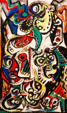 "This abstract expressionism is made by Jackson Pollock at 1938. Its called ""Flickr Link"". It is differ from the reality. The colors and the distorted faces show us the artists feeling and status during the world war two."