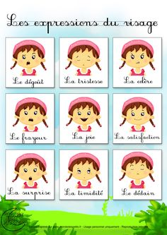 Dessin1_Comment dessiner les expressions du visage ? Learn French Fast, French Flashcards, Emotion Faces, French Language Lessons, Language Immersion, Autism Education, French Expressions, French Words, Kids Cards