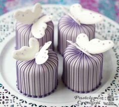 mini cakes with stripes and butterflies