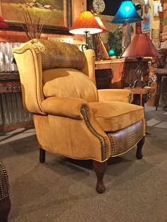 Alessandra push back recliner with rough-out leather and gator embossed leather accents