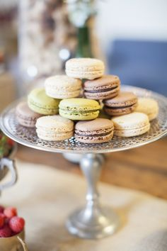 Macaroons stacked on the prettiest of platters   Photography: Katie Parra Photography - katieparra.com  Read More: http://www.stylemepretty.com/2014/06/18/champagne-tasting-bridal-shower-inspiration/