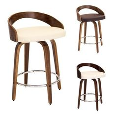 LumiSource Grotto Faux Leather Mid-century Modern Counter Stool | Overstock.com Shopping - The Best Deals on Bar Stools