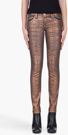 Current/elliott The Ankle Crocodile Print Jeans - Lyst