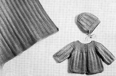 Baby Set & Carriage Cover knit pattern from Fashions in Wool for Little Tots, originally published by Hilde, Volume 115.