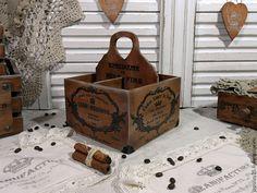 Купить короб подставка из серии Винтажный монохром - коричневый, короб, короб для хранения, короб для кухни