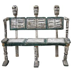 Folk Art Hand Carved Skeleton Bench | From a unique collection of antique and modern settees at https://www.1stdibs.com/furniture/seating/settees/
