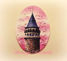 yağlıboya Galata Kulesi oval