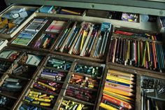 drawer stocked full of used crayons and color pencils