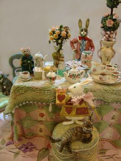 MINIATURE: Another wonderful scene from the very talented Bridget Mccarty ~ mini mad tea
