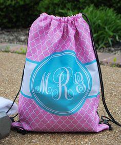 Pink & Aqua Trellis Monogram Drawstring Tote Bag #zulily #zulilyfinds
