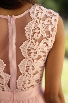 Buy this pretty Pink Crochet Maxi Dress with Tulle Back from Saved by the Dress Boutique. Perfect bridesmaid dress in lovely light pink color with crochet detail!