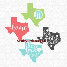 God Bless Texas Bless Your Heart Home Texan by CraftyLittleNodes svg studio silhouette cameo cricut explore