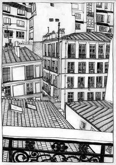 Rear window – Paris By Ai Akiyama Rear Window, Paris Travel, Multi Story Building, Survival, Sketch, Windows, Illustrations, Architecture, Design