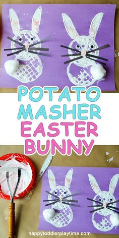 Potato Masher Easter Bunny is part of Kids Crafts Animals Easter Bunny - An easy Easter craft you can do now with your toddler or preschooler right now Make a Easter Bunny using a potato masher! Easter Crafts For Toddlers, Easter Arts And Crafts, Easter Activities For Kids, Easter Crafts For Kids, Toddler Crafts, Easter Ideas, Class Activities, Spring Activities, Easter Decor