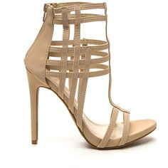 Be-Weave In Yourself Strappy Heels NUDE ($43) ❤ liked on Polyvore featuring shoes, tan, strappy heel shoes, strap shoes, synthetic shoes, nude strappy shoes and open toe high heel shoes