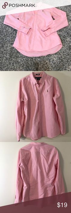 Ralph Lauren Slim Fit Pink Button-Up Long Shirt Beautiful shirt! Wrist Button IS MISSING on the left arm- can be replaced (see pictures)! In otherwise great condition! Reasonable offers accepted! Bundle for a private discount! Ralph Lauren Tops Button Down Shirts