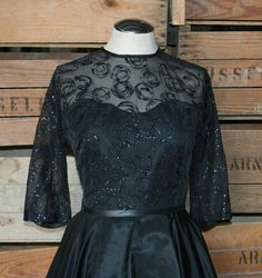 A Glittering Jewel  Black Party Dress with Silver by CallMeChula, $105.00 - 1950s 1960s Party Dress - Blue glitter on black - Little Black Dress
