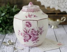Antique French Faience Earthenware Ginger Jar - Dark Pink Peonies Floral Design - Signed by Roger Colas of Clamecy - circa 1930s #vintage #antique #french #faience #peony #gingerjar