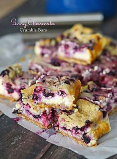 Berry Cheesecake Crumble Bars ~ Packed full of berry cheesecake goodness, these are definitely one of our favorite Yummy Bar Recipes! A Quick, Easy & Delicious Treat for your entire Family!