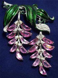 Trifari-Alfred-Philippe-Pave-Enamel-Pink-Demilunes-Wisteria-Pendants-Pin-Brooch