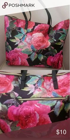 Large flower oversized canvas type shoulder bag. Never used. 14inches long;14 inches high. Bags Shoulder Bags