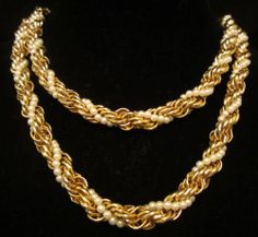 """Classic Runway 48""""x1/4"""" Single Strand Gold Tone Twisted Faux Pearl Necklace A14"""