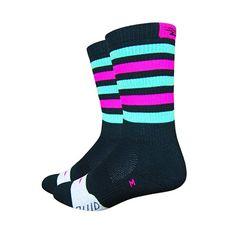 "DeFeet Thermeator 6"" Black/Green/Pink Stripes"