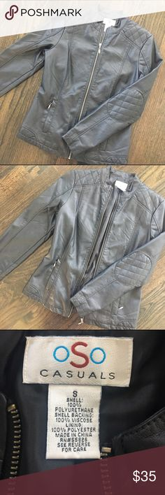 Black Faux Leather Jacket Cute black faux leather jacket by OSO. Silver hardware. Two front pockets that zip close. Size Small, true to size. New, never worn. Jackets & Coats