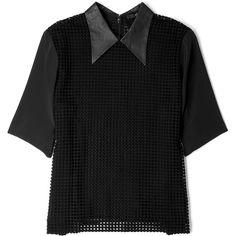 Tibi Black Leather Collar Macrame Top ($543) ❤ liked on Polyvore