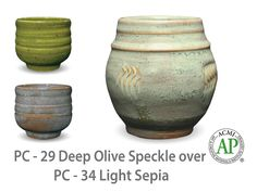 AMACO Potter's Choice layered glazes PC-34 Light Sepia and PC-29 Deep Olive Speckle.