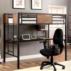 Rock your room with the Furniture of America Brighton Wood Panel Twin Loft Bed - Black . A real space saver, this loft bed has sleeping space up.
