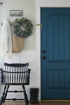 House Tour-The Wicker House - Love the blue door! Its called Night Scape by Valspar