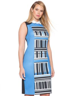 Plus Size Colorblocked Printed Dress. Invisible back zipper with hook and eye closure. Fitted silhouette. Medium stretch scuba knit fabric. affiliate link