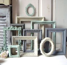 Ornate Vintage Frames Mint Green and Gray Painted Picture