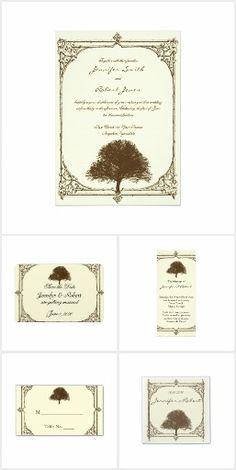 Vintage Brown Oak Tree on Cream Wedding