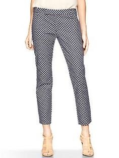 Navy print cropped pants for tall women!  Love the fun pattern!