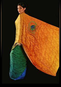 simply beautiful peacock design seen at Saree Dreams