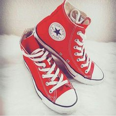 de683adc1d42 Selling this Red Converse High-tops in my Poshmark closet! My username is   xxzandersxx.