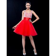 A-line/Princess Scoop Short/Mini Tulle Cocktail Dress – USD $ 129.99