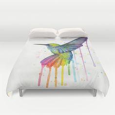 Hummingbird Watercolor Duvet Cover