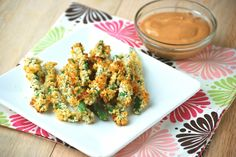 Green Bean Fries w/ Dipping Sauce - a good alternative to deep-fried. Baked, vegetarian, yummy!