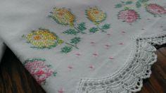 Vintage Pair Cotton Embroidered Pillowcases Tulips Flowers White Crochet Trim | eBay