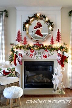 Christmas Mantels   Merry Christmas Mantel by Adventures in Decorating