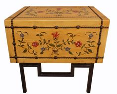 Hand Painted Blanket Chest on Iron stand, also used as a Console Table or Nightstands