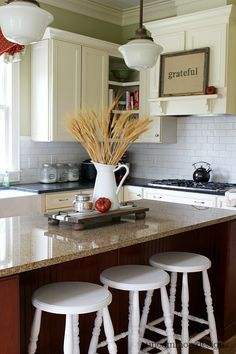 Fall kitchen. #findingfallhometour I like the idea of a shelf in the kitchen and being able to change out what sits on it.