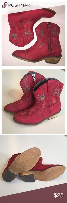 Girl's Dingo Fashion Butterfly Western Boots RED Girl's Dingo Fashion Butterfly Western Boots RED. In great condition for having been worn several times. Smoke-free/ pet-free home. Thanks for looking! Dingo Shoes Boots